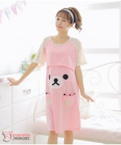 Mamma Pajamas - Dress Bear Pink Short