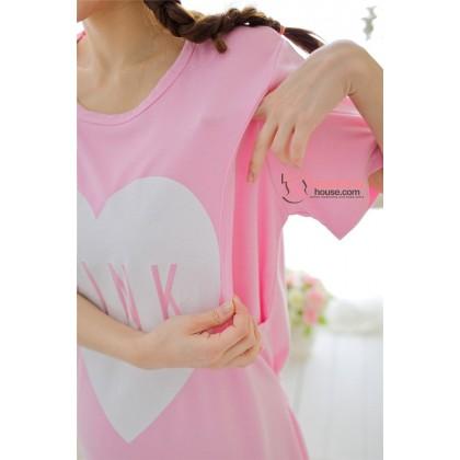 Maternity Nursing Pajamas - Dress Love Pink Short Pink