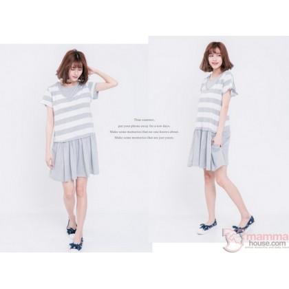 Nursing Dress - Hat Stripe Grey
