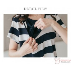 Nursing Dress - Hat Stripe Grey