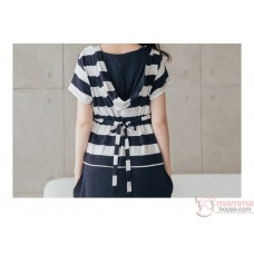 Nursing Dress - Hat Stripe Dark Blue