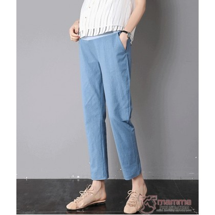 Maternity Pants - Working Linen Blue