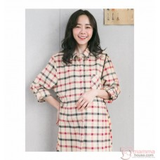 Nursing Dress - Grid Almond Long Sleeves