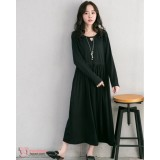 Nursing Dress - Little V Neck Black Long Sleeves