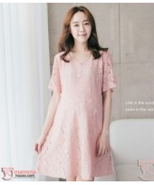 Nursing Dress - Elegant Lace Pink