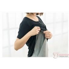 Nursing Dress - Long Cotton Black Grey