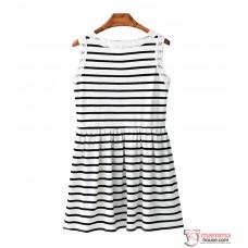 Nursing Dress - Lace Stripe White Black