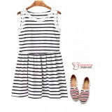 Nursing Dress - Lace Stripe White Black