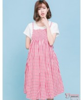 Nursing Dress - Little Grid Red