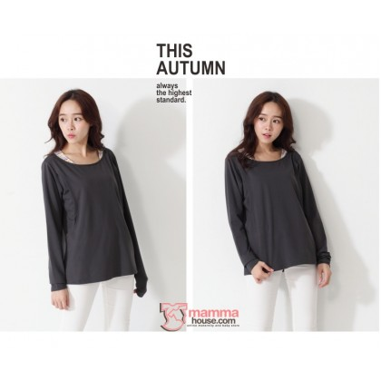 Nursing Tops - Long Neck Stripe Grey