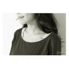 Nursing Tops - Long Neck Stripe Grey