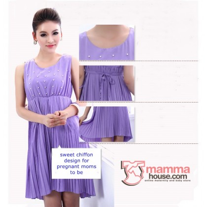 Maternity Dress - Pearl Chiffon (Pink or Purple)