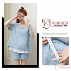 Maternity Set - 2pcs Chiffon White Blue