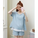 Maternity Set - 2pcs Chiffon White Blue