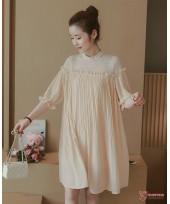 Maternity Dress - Chiffon Lace Beige