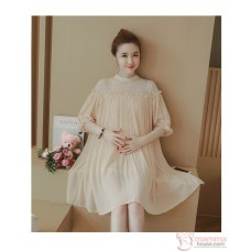 Maternity Dress - Chiffon Lace Beige