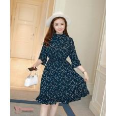 Maternity Dress - Dark Blue Chiffon (sleeves 7)