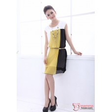 Maternity Dress - Vert Chiffon Yellow