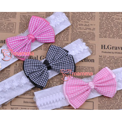 Baby Headband - Red or Pink Grid