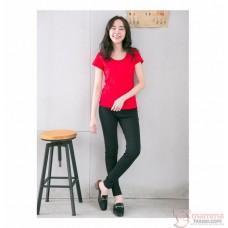 Maternity Long Pants - Slim Fit Cotton Black