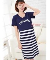Nursing Dress - Psit Dark Blue Short Sleeves