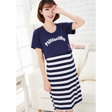 Nursing Dress - Psit Dark Blue Short Sleeves