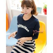 Nursing Dress - Psit Dark Blue Long Sleeves