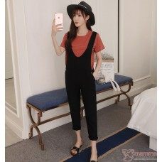 Nursing Set - Strap Black Stripe Orange T-shirt (2pcs set)