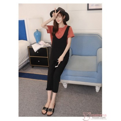 Nursing Set - Strap Black Stripe Orange T-shirt (2pcs set)