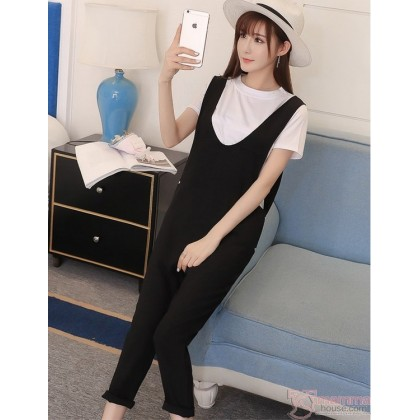 Nursing Set - Strap Black White T-shirt (2pcs set)