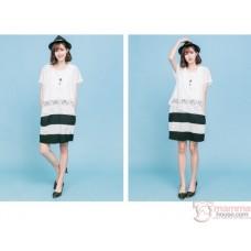 Nursing Dress - Chiffon White Black