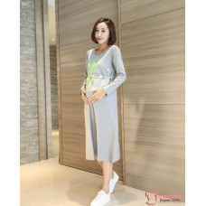 Nursing Dress - Long Attractive Grey