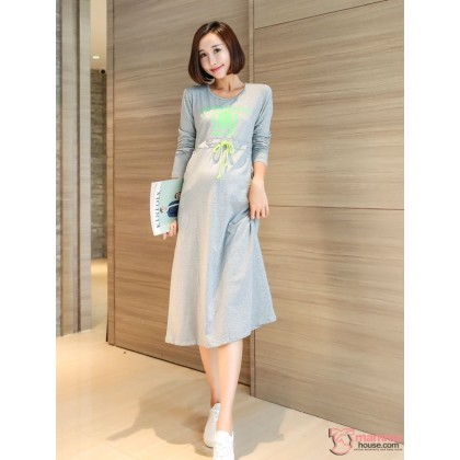 Nursing Dress - Long Attractive Grey
