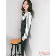 Nursing Dress - 2pcs Long Stripe Black