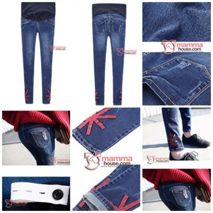 Maternity Jeans - Slim Blue Jack Red