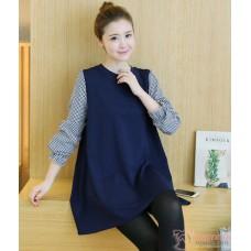 Maternity Blouse - Long Sleevs Grid Dark Blue