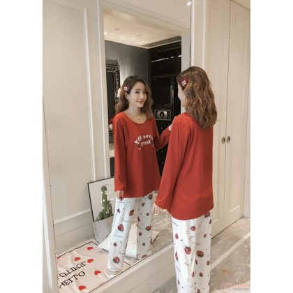 Maternity Nursing Pajamas - Long My Berry Orange Red
