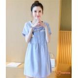 Maternity Dress - Rabbit Stripe Blue