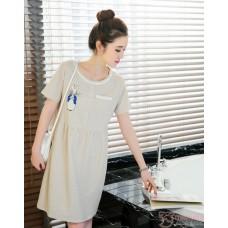 Maternity Dress - Rabbit Stripe Khaki