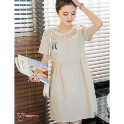 Maternity Dress - Rabbit Stripe Khaki