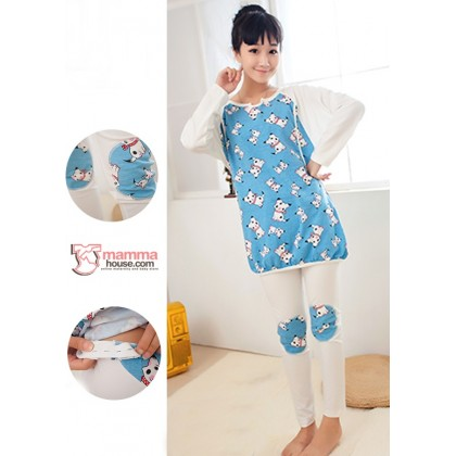 Maternity Nursing Pajamas - Long Puppy Blue