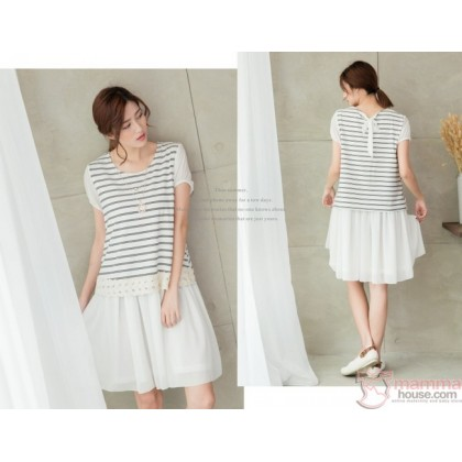 Nursing Dress - Chiffon Lace Stripe White