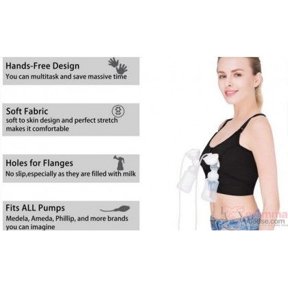 T Nursing Bra - Hands Free Zip Black