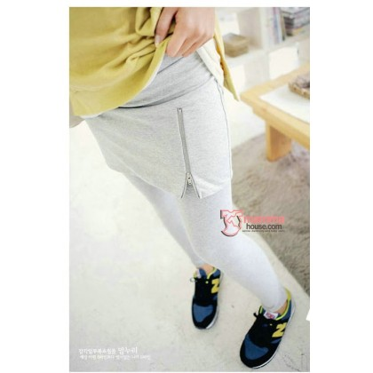 Long Legging - Zip Long Light Grey