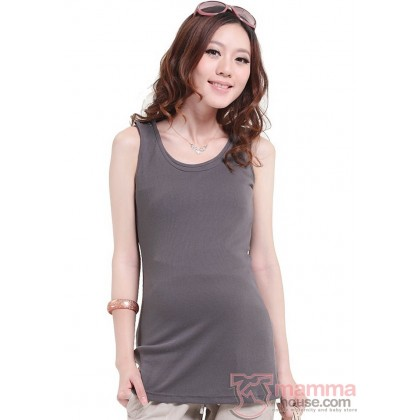 Nursing Singlet - Shoulder Button Grey