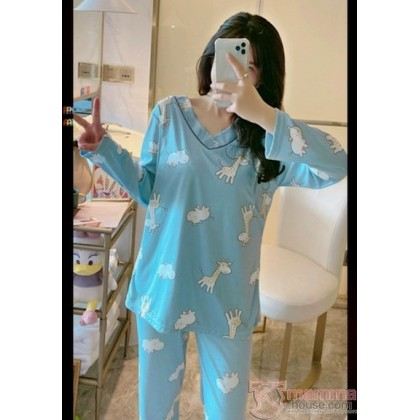 Maternity Nursing Pajamas - Long V Blue Giraffe