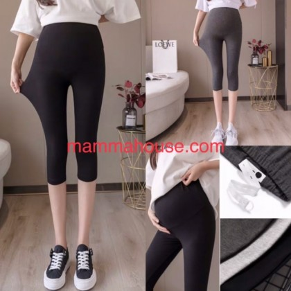 "Maternity Legging - Soft Cotton 7"" Black or Dark Grey"
