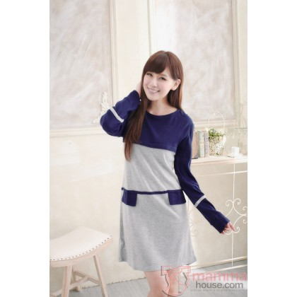 Nursing Dress - Long Pocket Grey Blue