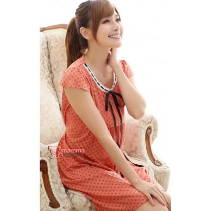 Nursing Dress - Ribbon Dot Orange Red
