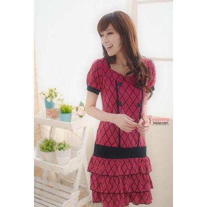 Nursing Dress - Bevel Short Pink